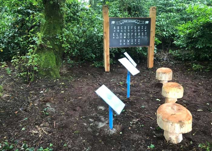 Trail designers at Galgorm Fairy Trail Mud Kitchen Upgrade