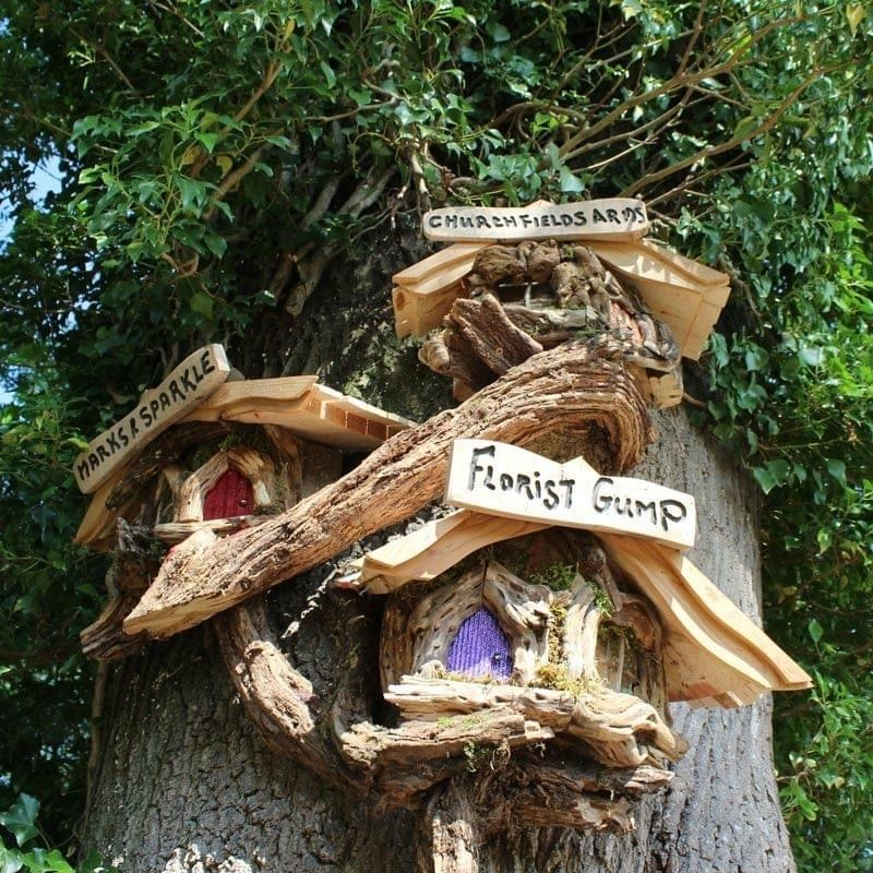 Fairy Fairy Shopping Village wooden sculpture