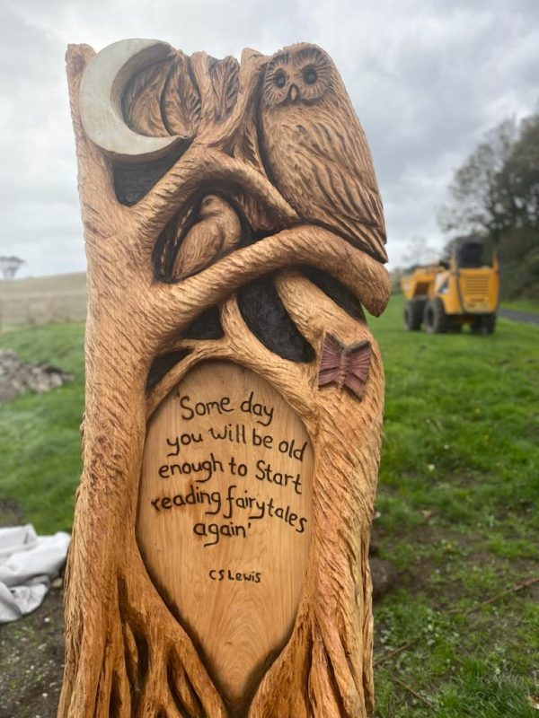 Bluebell Wood Totem Carving with C.S. Lewis Quote
